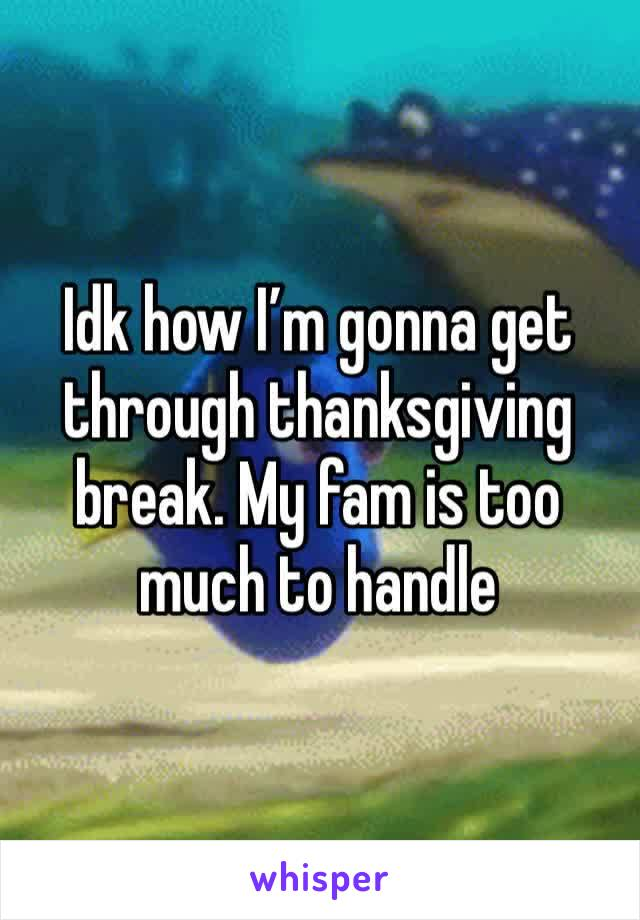 Idk how I'm gonna get through thanksgiving break. My fam is too much to handle