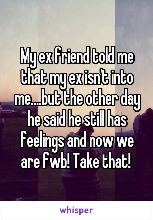 My ex friend told me that my ex isn't into me....but the other day he said he still has feelings and now we are fwb! Take that!