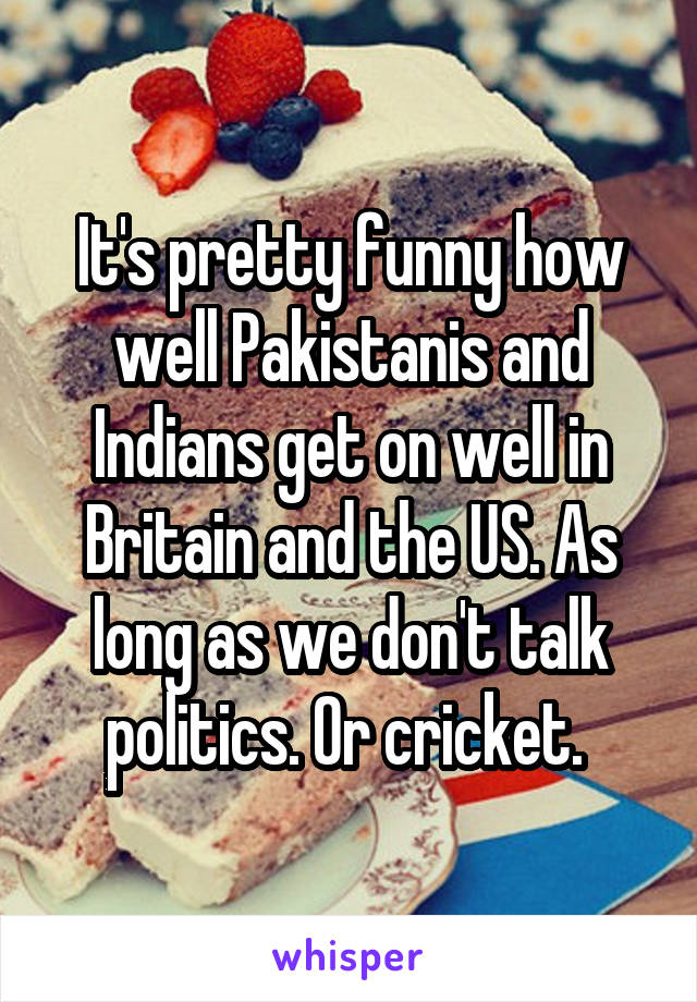 It's pretty funny how well Pakistanis and Indians get on well in Britain and the US. As long as we don't talk politics. Or cricket.