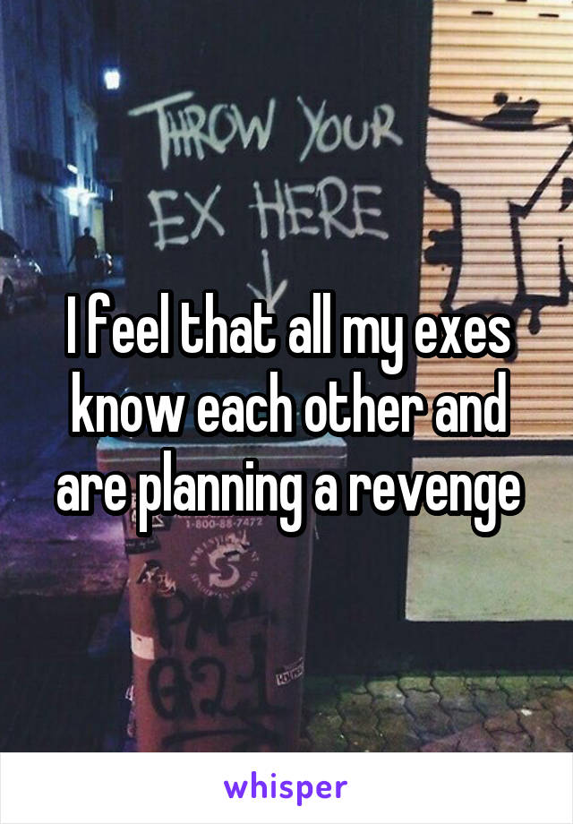 I feel that all my exes know each other and are planning a revenge