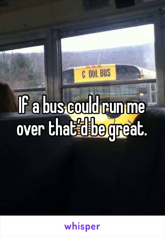 If a bus could run me over that'd be great.