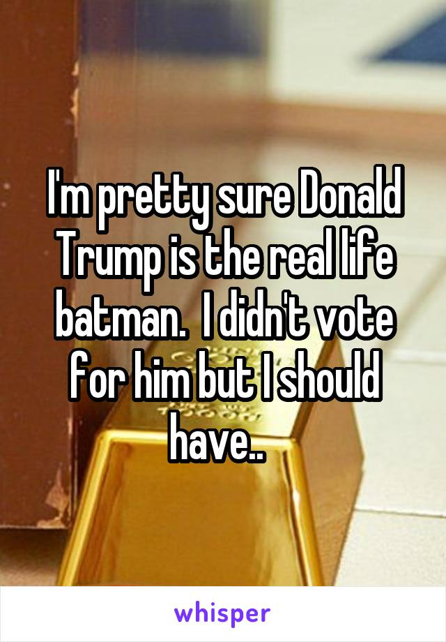 I'm pretty sure Donald Trump is the real life batman.  I didn't vote for him but I should have..