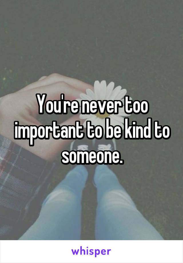 You're never too important to be kind to someone.