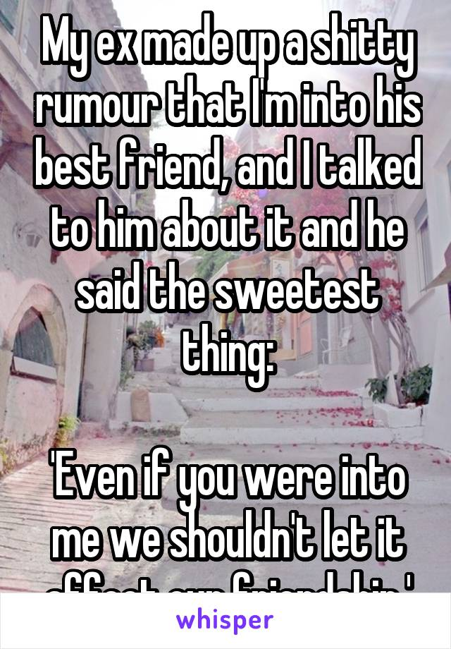 My ex made up a shitty rumour that I'm into his best friend, and I talked to him about it and he said the sweetest thing:  'Even if you were into me we shouldn't let it affect our friendship.'