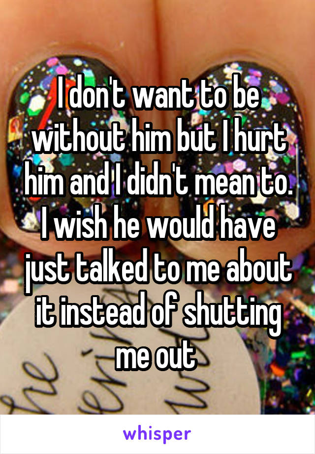 I don't want to be without him but I hurt him and I didn't mean to. I wish he would have just talked to me about it instead of shutting me out