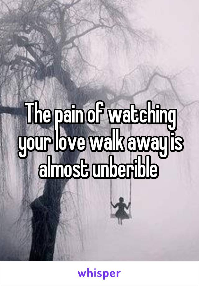 The pain of watching your love walk away is almost unberible