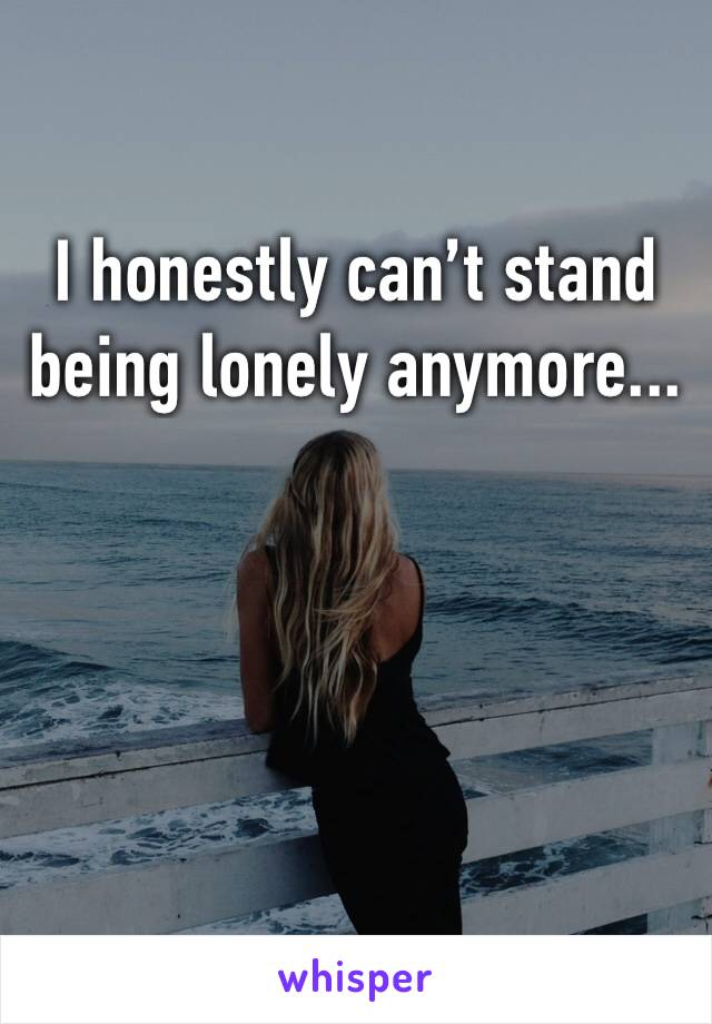 I honestly can't stand being lonely anymore...