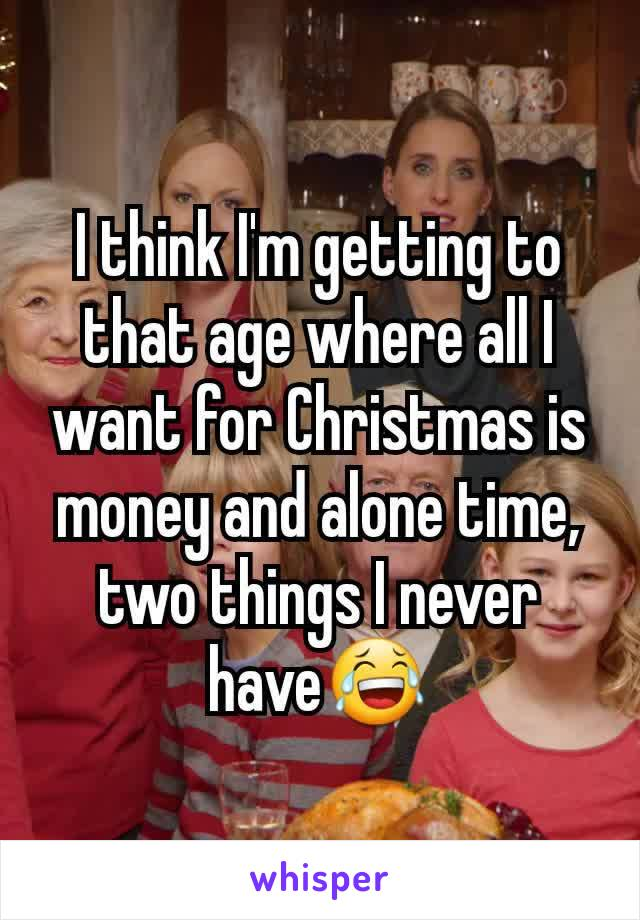 I think I'm getting to that age where all I want for Christmas is money and alone time, two things I never have😂