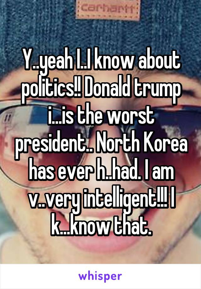Y..yeah I..I know about politics!! Donald trump i...is the worst president.. North Korea has ever h..had. I am v..very intelligent!!! I k...know that.