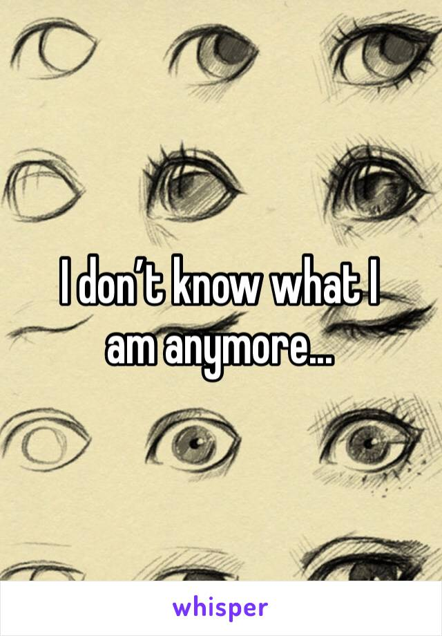 I don't know what I am anymore...