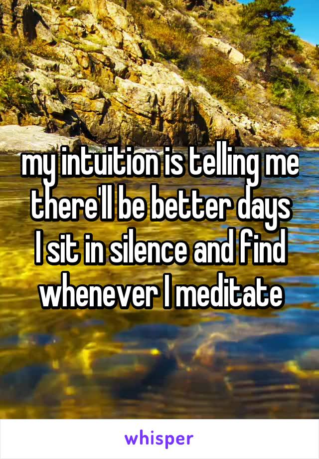 my intuition is telling me there'll be better days I sit in silence and find whenever I meditate