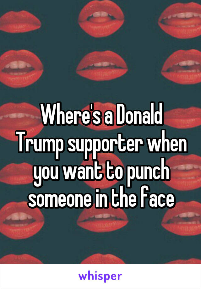 Where's a Donald Trump supporter when you want to punch someone in the face