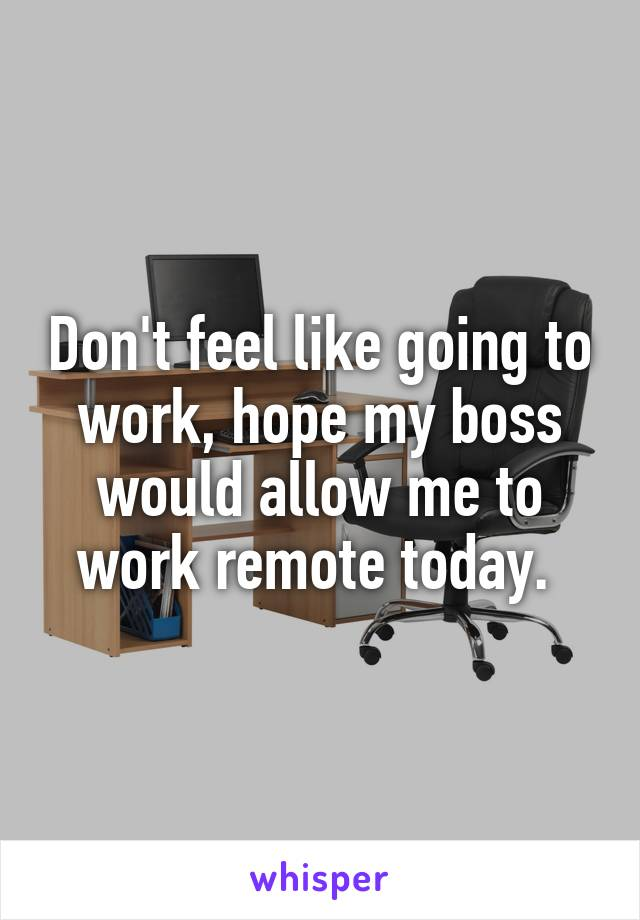 Don't feel like going to work, hope my boss would allow me to work remote today.