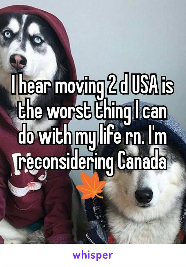 I hear moving 2 d USA is the worst thing I can do with my life rn. I'm reconsidering Canada 🍁