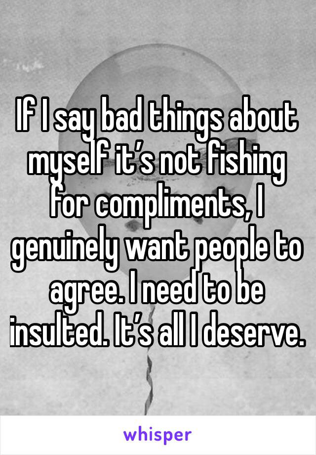 If I say bad things about myself it's not fishing for compliments, I genuinely want people to agree. I need to be insulted. It's all I deserve.