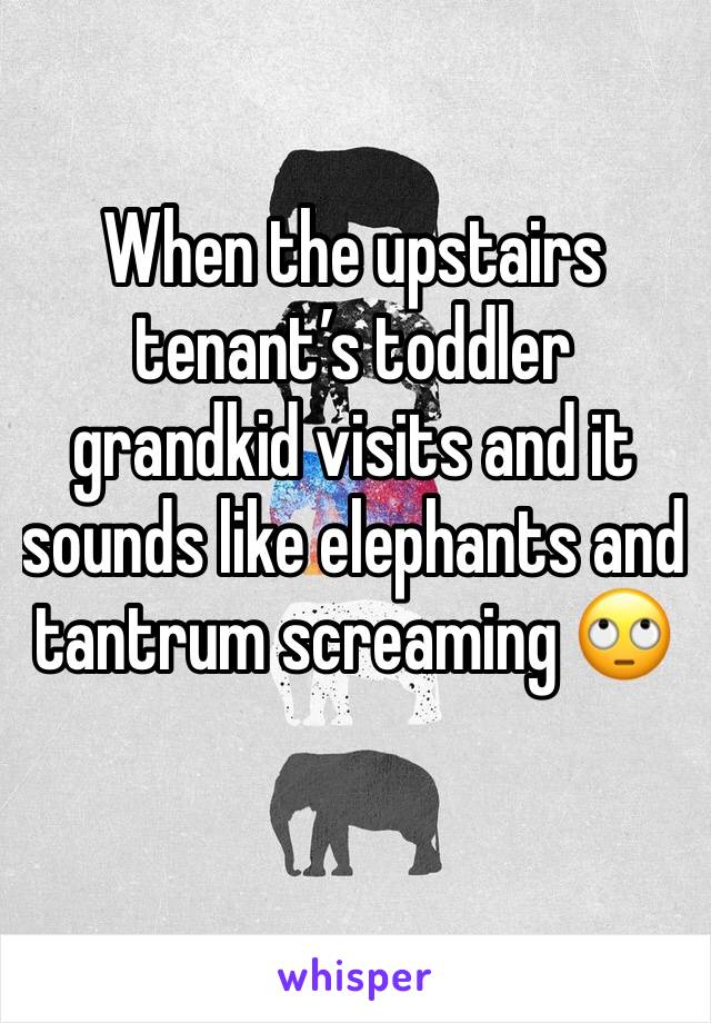 When the upstairs tenant's toddler grandkid visits and it sounds like elephants and  tantrum screaming 🙄