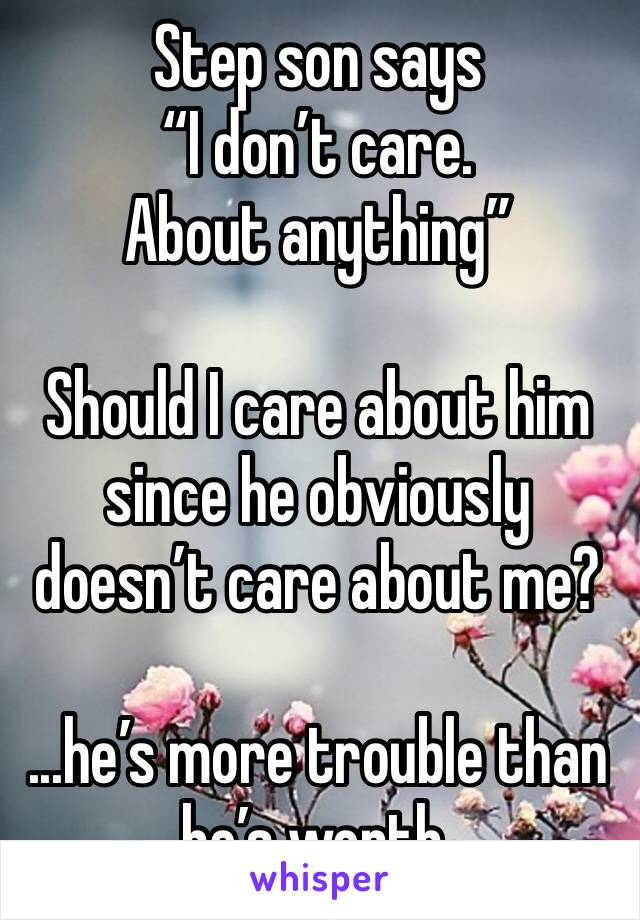"""Step son says  """"I don't care. About anything""""  Should I care about him since he obviously doesn't care about me?   ...he's more trouble than he's worth."""