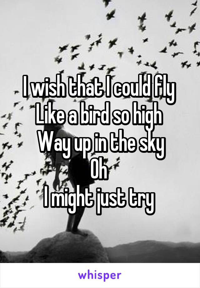 I wish that I could fly  Like a bird so high  Way up in the sky Oh  I might just try