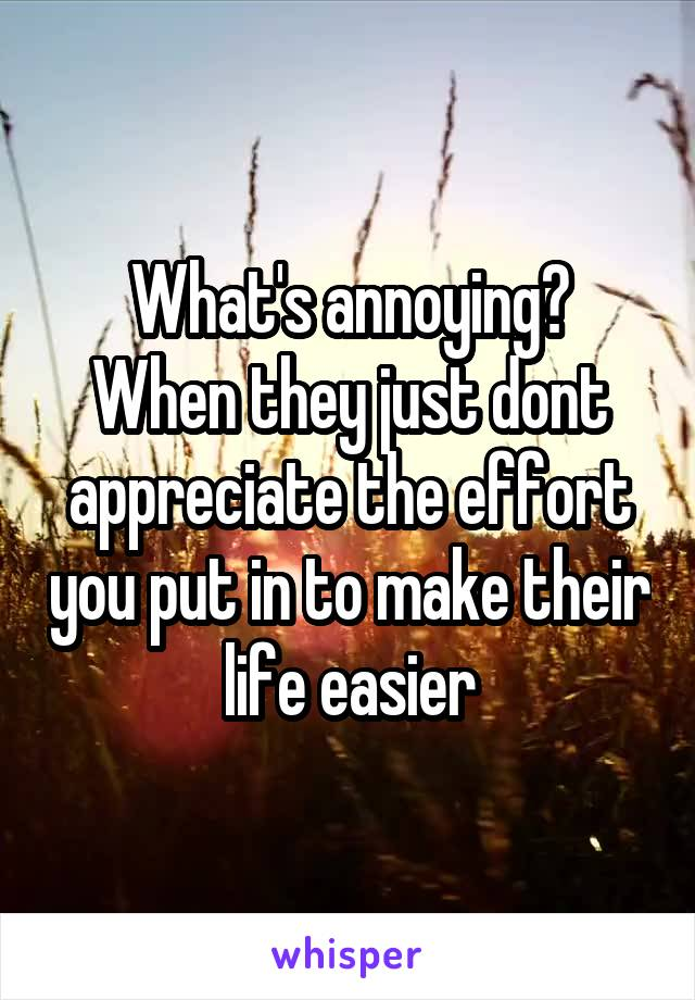 What's annoying? When they just dont appreciate the effort you put in to make their life easier