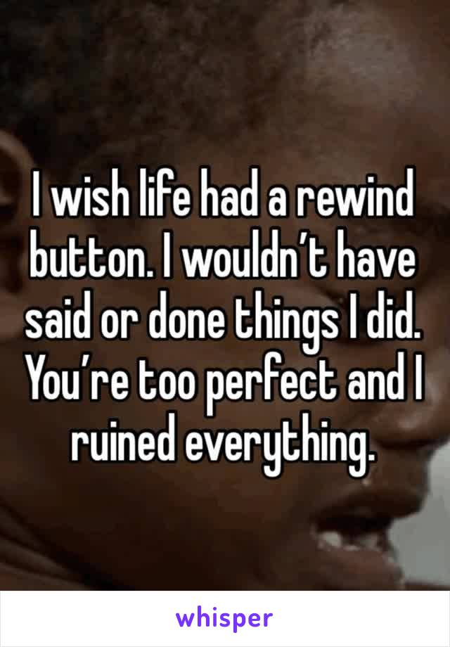 I wish life had a rewind button. I wouldn't have said or done things I did. You're too perfect and I ruined everything.