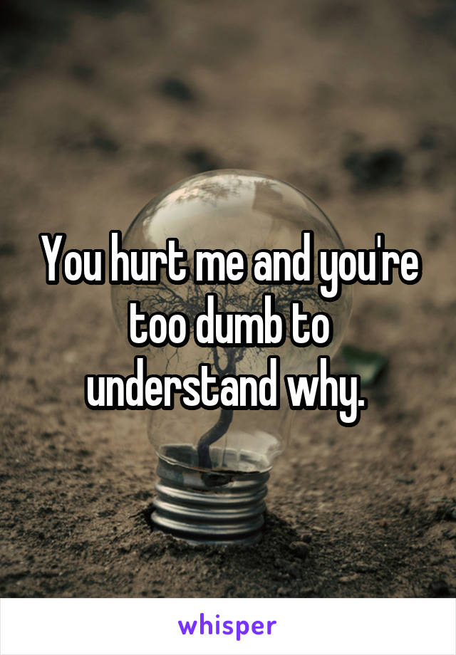 You hurt me and you're too dumb to understand why.