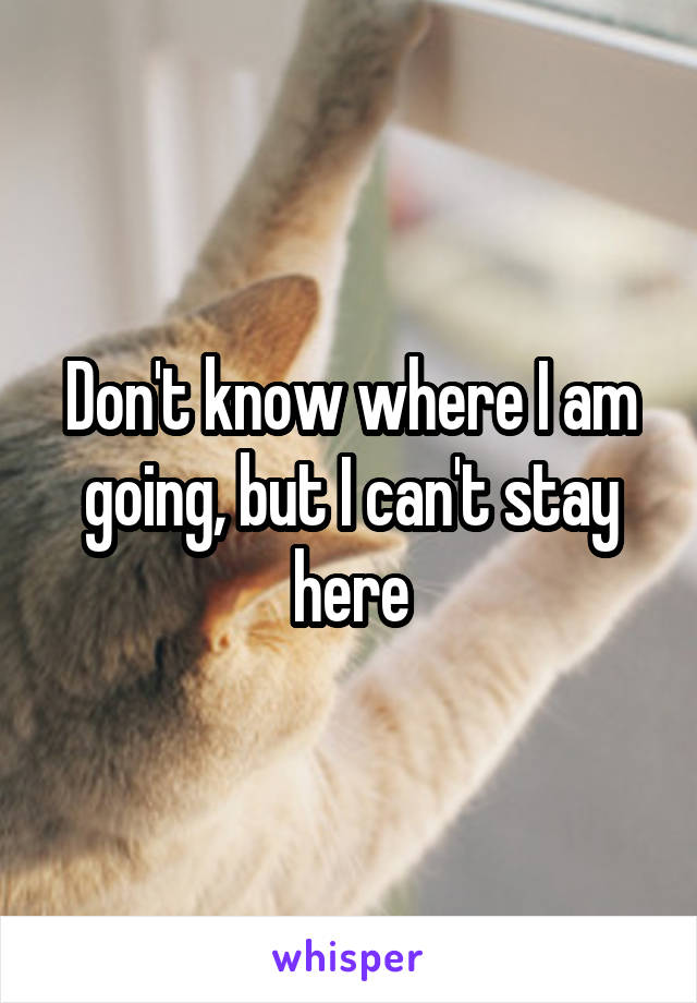 Don't know where I am going, but I can't stay here