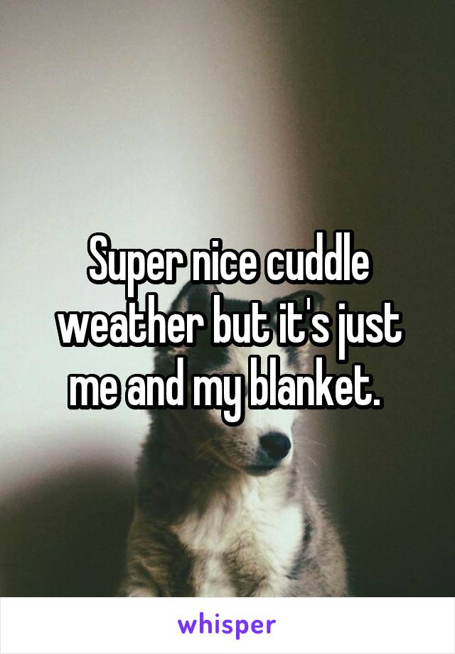 Super nice cuddle weather but it's just me and my blanket.