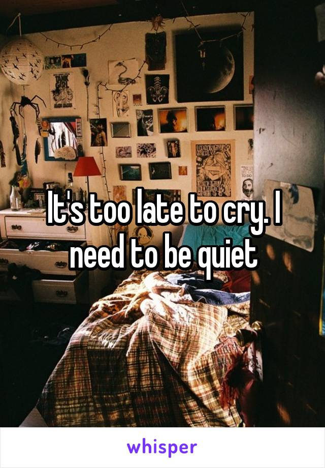 It's too late to cry. I need to be quiet