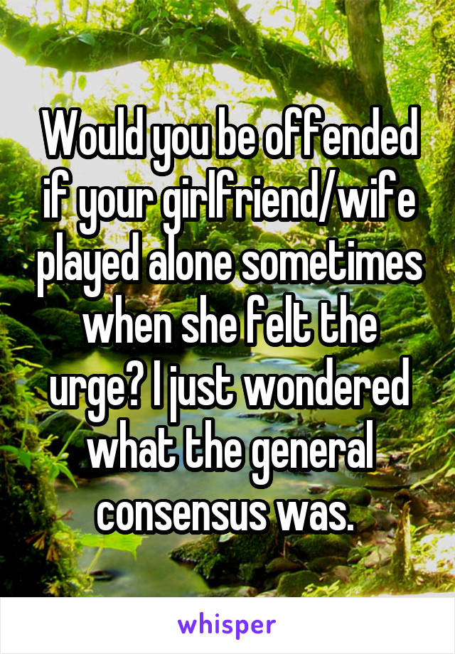 Would you be offended if your girlfriend/wife played alone sometimes when she felt the urge? I just wondered what the general consensus was.