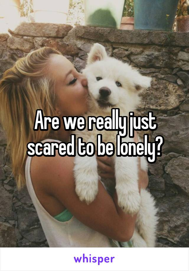 Are we really just scared to be lonely?
