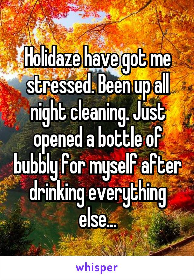 Holidaze have got me stressed. Been up all night cleaning. Just opened a bottle of bubbly for myself after drinking everything else...