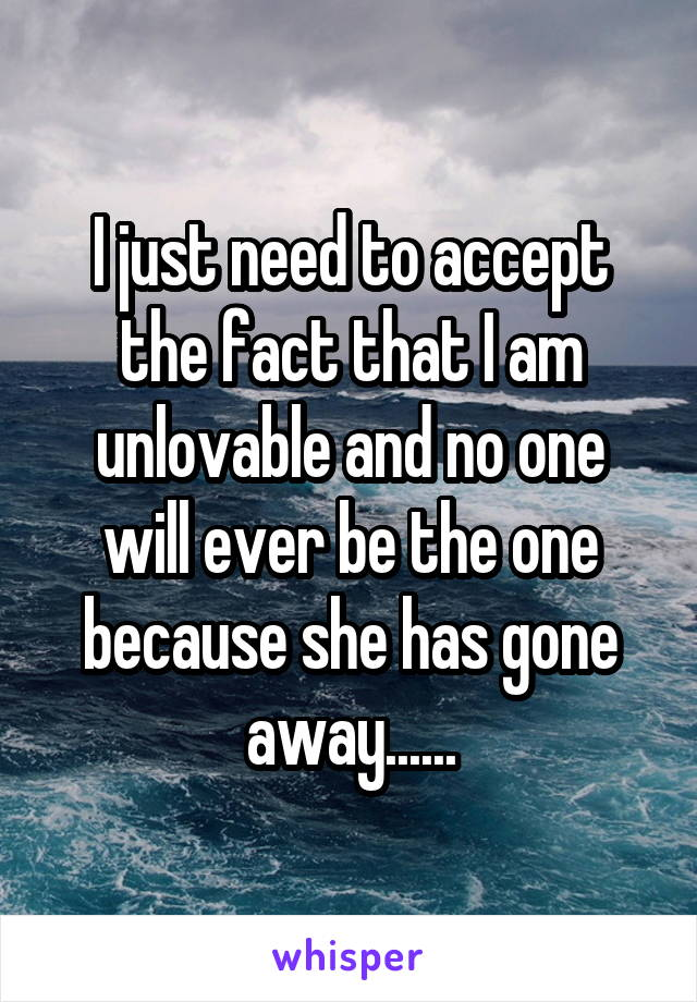 I just need to accept the fact that I am unlovable and no one will ever be the one because she has gone away......