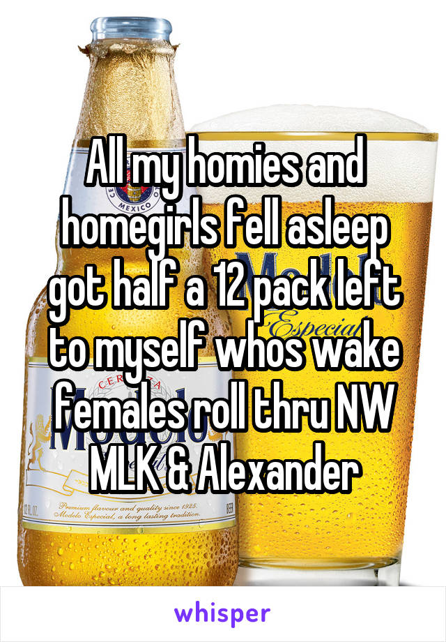 All my homies and homegirls fell asleep got half a 12 pack left to myself whos wake females roll thru NW MLK & Alexander