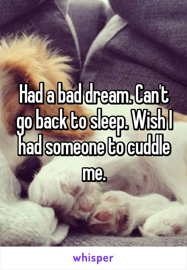 Had a bad dream. Can't go back to sleep. Wish I had someone to cuddle me.