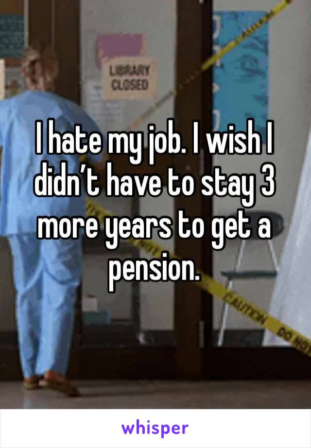 I hate my job. I wish I didn't have to stay 3 more years to get a pension.
