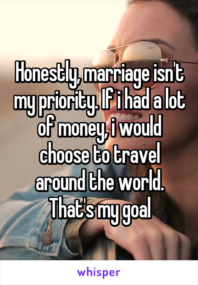 Honestly, marriage isn't my priority. If i had a lot of money, i would choose to travel around the world. That's my goal