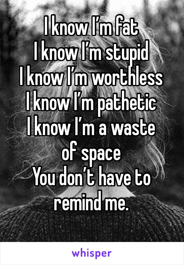 I know I'm fat I know I'm stupid I know I'm worthless I know I'm pathetic  I know I'm a waste of space You don't have to remind me.
