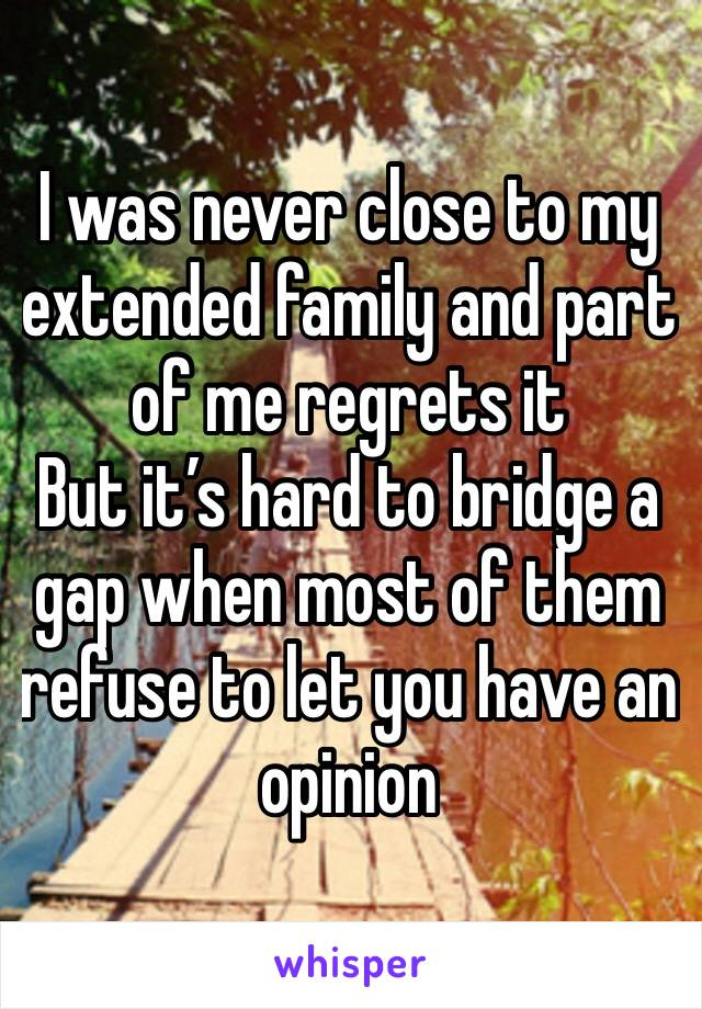 I was never close to my extended family and part of me regrets it But it's hard to bridge a gap when most of them refuse to let you have an opinion
