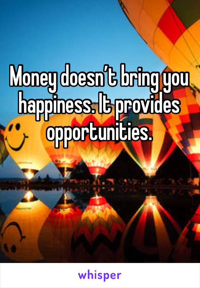 Money doesn't bring you happiness. It provides opportunities.