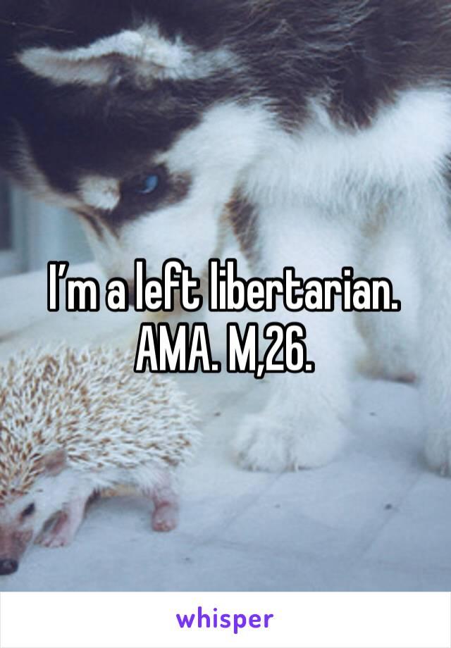 I'm a left libertarian. AMA. M,26.