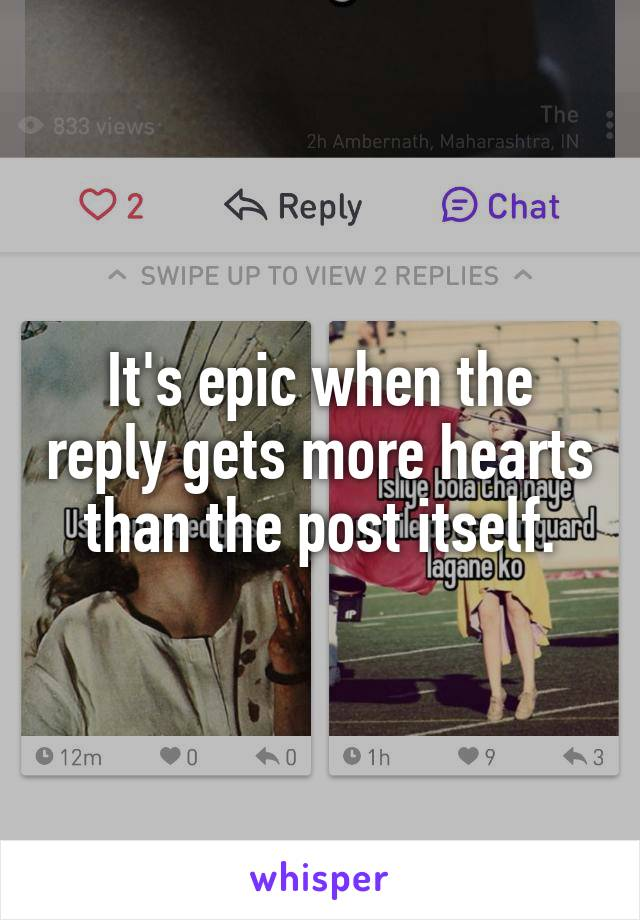 It's epic when the reply gets more hearts than the post itself.