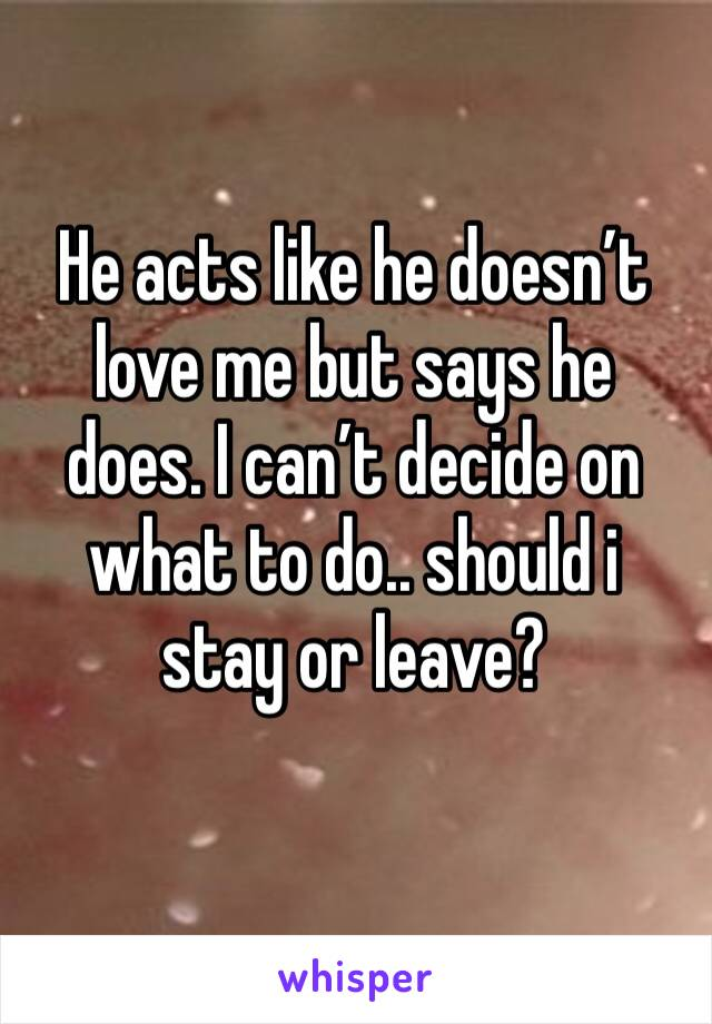 He acts like he doesn't love me but says he does. I can't decide on what to do.. should i stay or leave?