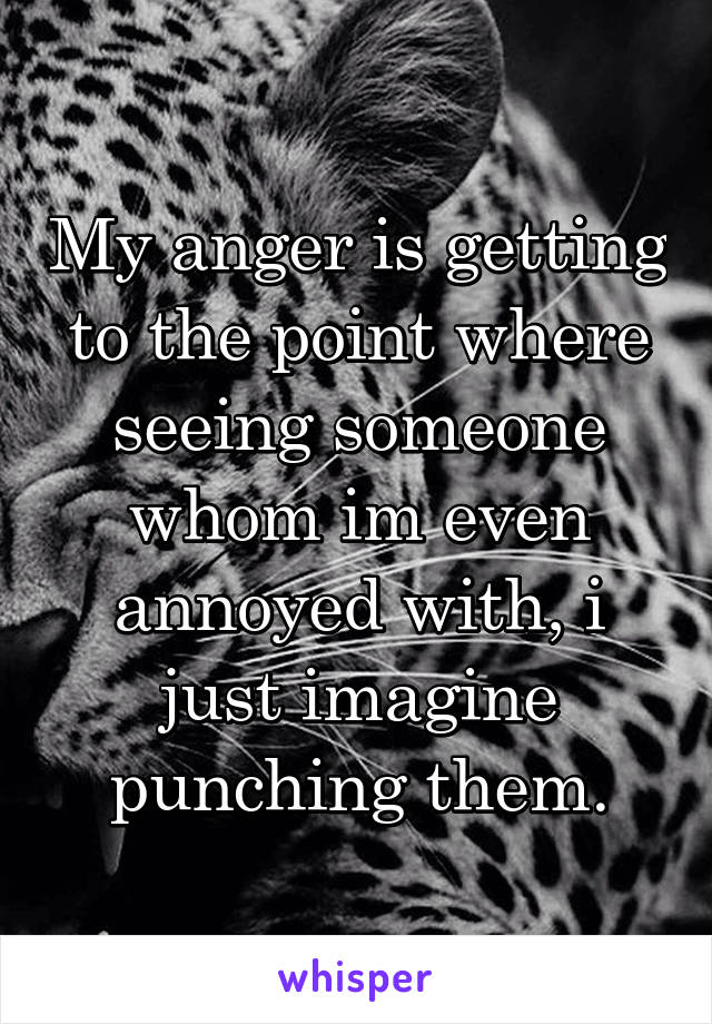 My anger is getting to the point where seeing someone whom im even annoyed with, i just imagine punching them.