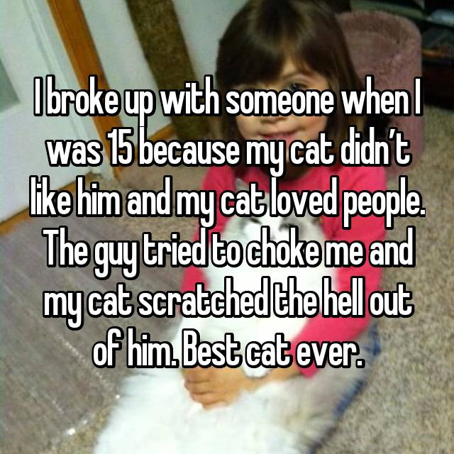 I broke up with someone when I was 15 because my cat didn't like him and my cat loved people. The guy tried to choke me and my cat scratched the hell out of him. Best cat ever.