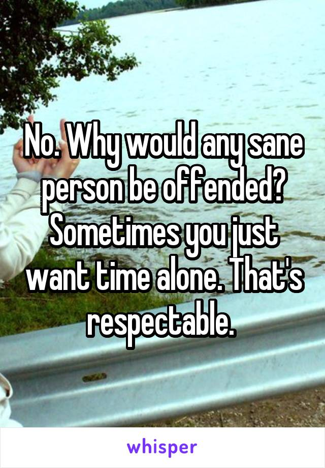 No. Why would any sane person be offended? Sometimes you just want time alone. That's respectable.