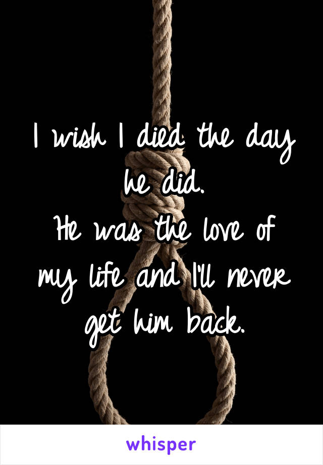I wish I died the day he did. He was the love of my life and I'll never get him back.