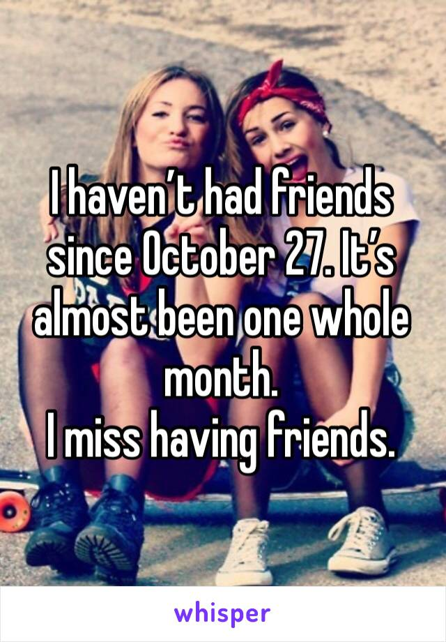 I haven't had friends since October 27. It's almost been one whole month.  I miss having friends.