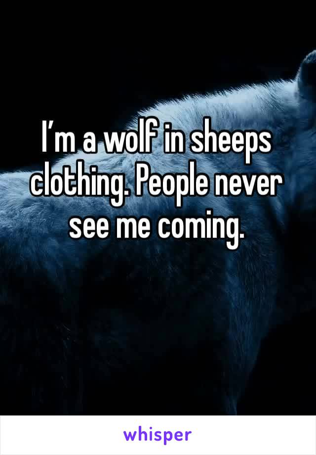 I'm a wolf in sheeps clothing. People never see me coming.
