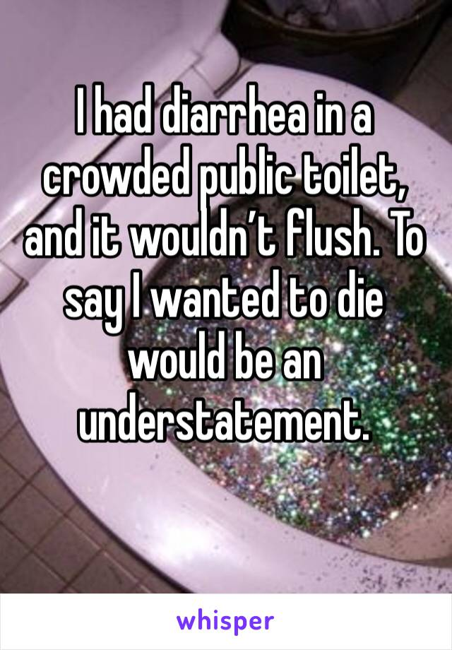 I had diarrhea in a crowded public toilet, and it wouldn't flush. To say I wanted to die would be an understatement.
