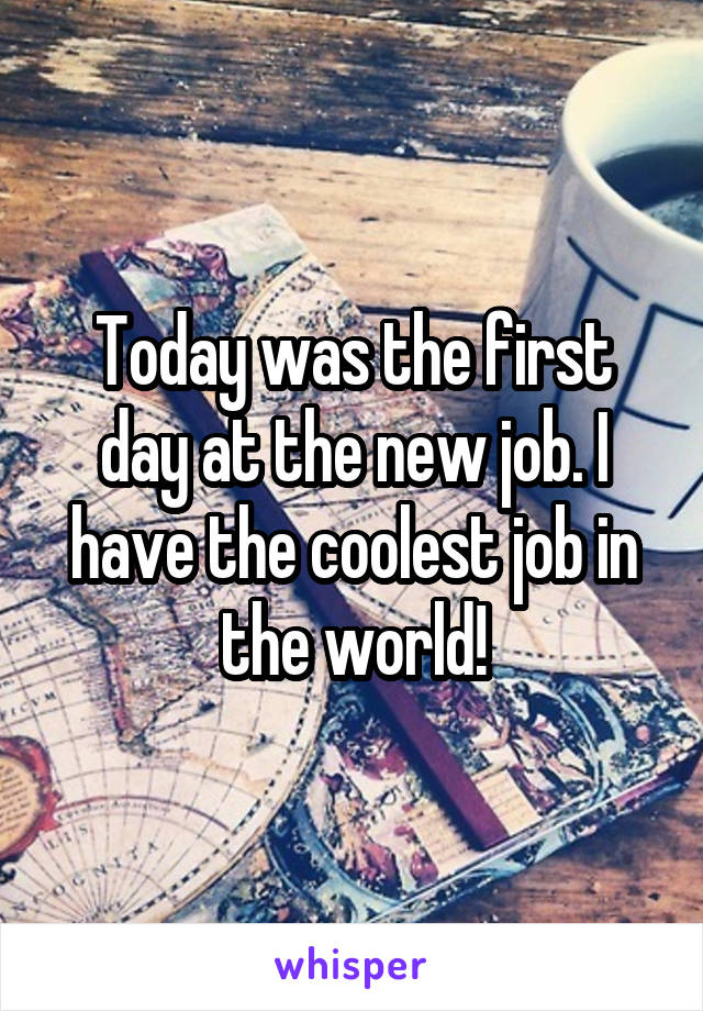 Today was the first day at the new job. I have the coolest job in the world!